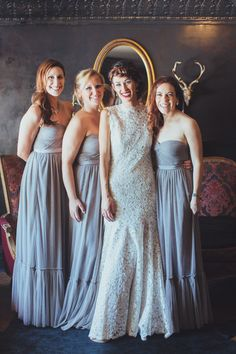 Bride + Bridesmaids | On SMP: http://stylemepretty.com/2013/11/27/smog-shoppe-wedding-from-sitting-in-a-tree-events | Photography: rad and in love