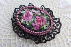 Pink-black vintage inspired victorian style textile jewelry - hand made brooch with silk ribbon embroidery and roses for romantic lady by Virvi on Etsy