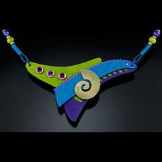 Jinglers Jewelry, colorful stement necklace, blue, chartreuse, purple