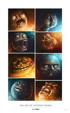Vejam que doideira. O artista Sam Spratt fez pinturas digitais dos memes mais malucos da web. Divertidos e cheios de expressão, nós curtimos demais…