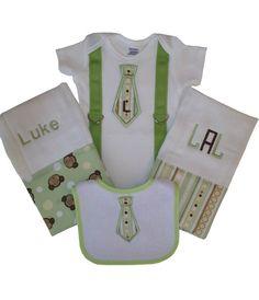 Personalized Baby Boy Onesie, Bib and Burp Cloth Set on Etsy, $43.00