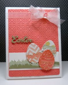 This is a cool Easter card. The designer used our Top Dog Dies Modern Mosaic A2 Mat die for her background and then added our Grass die set, Easter die set, and Decorative Eggs die set.