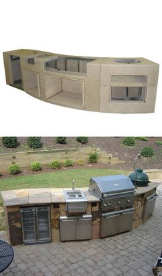 Curved Custom Outdoor Kitchen C-01. Constructed with a galvanized steel frame covered with concrete hardieboard, custom make your island and finish as you desire.