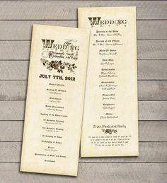 vintage wedding programs diy   Vintage Wedding Program printable DIY by perfectlywhimsical, $17.99