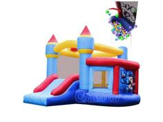 Inflatable bouncer with ball pit and hoop, for home use. You can spend only a few hundreds and get one for your kids. Bouncer For Kids, Castle Party, Kids Castle, Inflatable Bounce House, Bouncy Castle, Bouncers, Playground, Are You The One, Things That Bounce