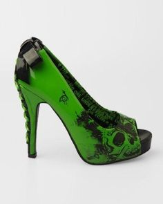 Lime Green peep-toe platform pumps printed with skulls at vamp. Decorated with a bow at ankle and a corset-laced wrapped concealed platform with a heel.All man-made materials; Platform Pumps, Women's Pumps, Crazy Shoes, Me Too Shoes, Iron Fist Heels, Vip Fashion Australia, Walking In Heels, Green Shoes, Sexy Boots