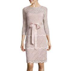 jcp | Blu Sage 3/4-Sleeve Tiered Lace Sheath Dress