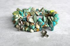 Genuine Turquoise Memory Wire Bracelet Cancer by APerfectGem