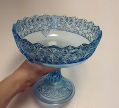 Glass Vintage Pedestal Serving Dish Bowl Ice by EmbracetheEarth, $20.00