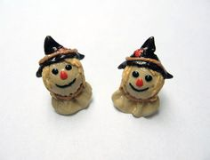 Scarecrow Head Earrings surgical steel posts by SaraMadeCreations