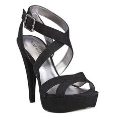 "As seen in the July issue of OK! Magazine.....Criss cross platform sandal with covered heel.  Adjustable ankle strap with buckle closure.  Measurements: heel 4 3/4"" and platform 1"".  This style is available exclusively @ Nine West Stores & ninewest.com."
