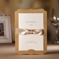 2014 50pcs Sample Classic Cistomized Wedding Invitation Cards With Ribbon  Sash