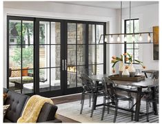 Black French Doors, Interior Sliding French Doors, Double French Doors, French Doors Patio, Interior Glass Doors, Double Sliding Patio Doors, Bedroom With French Doors, Farmhouse Windows And Doors, Modern Patio Doors