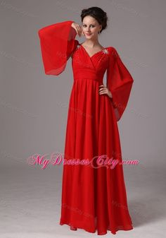 red mother of the bride dresses | Red Long Sleeves V-neck Ruching Mother Of The Bride Dress with ...