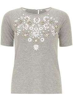DP Collection  grey embellished short sleeve sweat