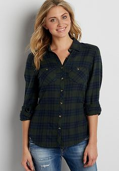 button down plaid shirt in navy blue and green | maurices