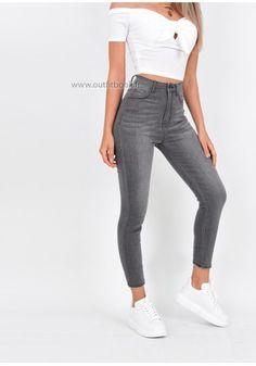32d08cfc9795a Jean skinny gris avec zip à l'arrière - OUTFITBOOK Tenue Avec Jeans Gris,