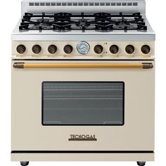 "Tecnogas Superiore Range Deco 36""Range Deco 36"" Classic Cream Matte with Accents Brass (Natural Gas), Bisque"