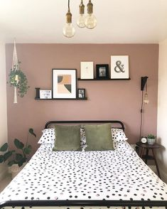 Thought I'd show you a room that doesn't appear in my squares very… Dusty Pink Bedroom, Pink Bedroom Walls, Bedroom Wall Colors, Accent Wall Bedroom, Room Ideas Bedroom, Home Decor Bedroom, Light Pink Bedrooms, Romantic Bedroom Colors, Navy Blue Bedrooms