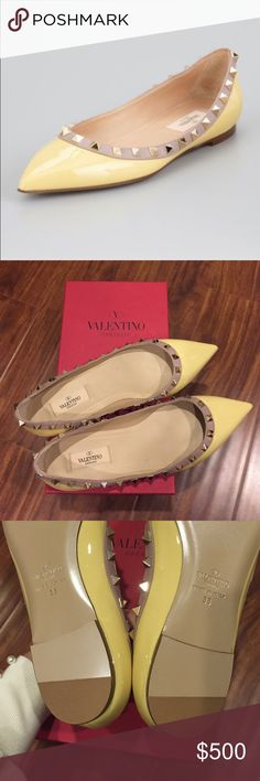 BNIB Valentino light yellow rockstud flats sz 38 Brand new in box. Purchased at nordstroms. It's authentic. In a light yellow color patent leather. No trades Valentino Shoes Flats & Loafers