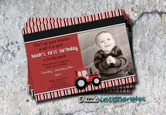 Red Tractor Birthday Invitation Start Your by DazzleDesignGraphics, $10.00