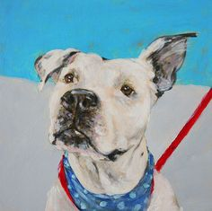 Isn't this great?? Perfect dog portrait. Well done! ORIGINAL Pitbull Dog Portrait Modern Oil Painting by SweetMurmur, $200.00