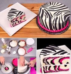 """""""Pink Zebra Cake Recipe - pinned from CAKE DECORATING - A pin category from Byrna Luyben-Cronk, please note that this woman's pin's include many tips and instructions for a myriad of cake design(s)"""" Cookies Cupcakes And Cardio, Cupcake Cookies, Food Cakes, Cake Decorating Tips, Cookie Decorating, Cute Cakes, Yummy Cakes, Torta Zebra, Torta Animal Print"""