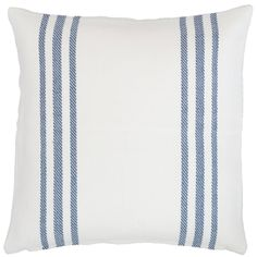 """Get classic coastal style with a throw pillow in versatile white with denim stripes. With its washable, eco-friendly fabric, this indoor/outdoor pillow will bring your sofa, armchair, or porch swing to life.   • 100% recycled polyester (PET) shell; 100% polyester fill.  • 22"""" x 22""""  • Zipper closure."""
