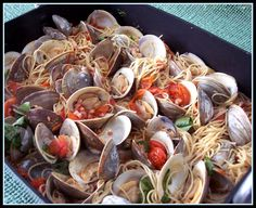 Spaghetti With Oven Baked Clams. You'll Be Smacking Your Lips and Saying Bellissima.