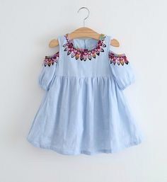 Buy Online Girly Shop Cute Summer Printed Embroidery Round Neckline Knee Length Keyhole Sleeve Little Girl Dress (2-7Y). FREE SHIPPING!