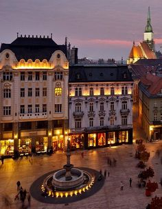 Main Square in Bratislava at night, Slovakia. I my city. Places In Europe, Oh The Places You'll Go, Places To Travel, Places Ive Been, Travel Destinations, Budapest, Bratislava Slovakia, Central And Eastern Europe, Voyage Europe