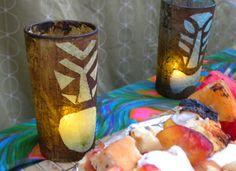 DIY tiki lanterns. Light 'em up with submersible LEDs, little mobile/cordless lights + super long lasting! Slow color change is my faaaavorite: http://www.flashingblinkylights.com/ledsubmersiblecraftlights-c-114_462.html