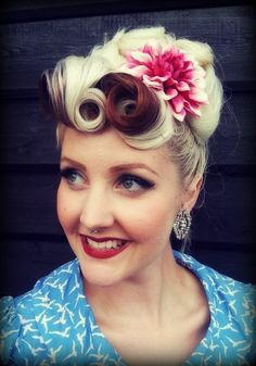 Vintage hair, up-do,victory rolls, flower fascinator, brown white hair color, pinup