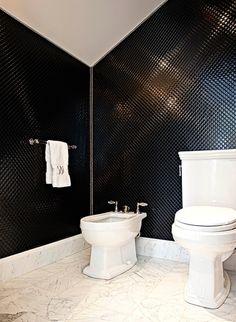 Suzie: Elizabeth Kimberly Design - Glam bathroom with black penny tiles backsplash, toilet, . Yellow Bathrooms, Dream Bathrooms, White Bathroom, Ikea Bathroom, Vanity Bathroom, Bathroom Ideas, Bathroom Organization, Bathroom Things, Bathroom Plants