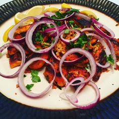 Tandoori chicken. The longer you marinate, the more tender the meat. Great grilled or in the oven!