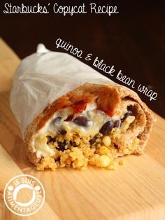 A vegetarian/vegan wrap made with quinoa and black beans, cooked until you get a crispy outside! Recipe inspired by Starbuck's Zesty Black Bean Quinoa Wrap.