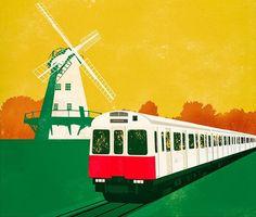 Vintage Graphic Design, London Underground, Vintage Travel Posters, Trains, Fun, Funny