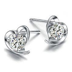 925 Silver Crystal Heart Earrings Ear Stud Women Lady Fashion Jewelry Xmas Gift