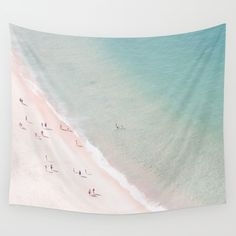 beach - summer of love Wall Tapestry. #photography #beach #ocean #sea #summer #art-print #wall-decor #wall-art #poster #home-decor #ingrid-beddoes #aerial-view #aerial-beach-photo #people #swimming #wave #blue #mint #green #turquoise #seashore