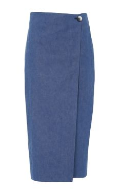Denim Midi Skirt by CAROLINA HERRERA for Preorder on Moda Operandi
