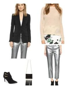 Structured separates with holiday touches (i.e. silver pants and a studded jacket).
