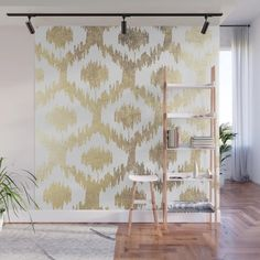 Modern white hand drawn ikat pattern faux gold Wall Mural by pink_water | Society6