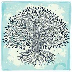 dessin tribal: Belle main Vintage arbre tiré de la vie Illustration