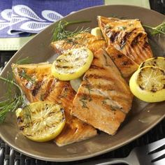 Lemony Grilled Salmon Fillets with Dill Sauce Recipe from Taste of Home -- shared by April Lane of Greeneville, Tennessee