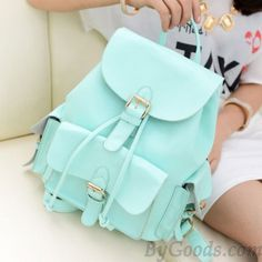 Casual College Style Mint Green Backpack
