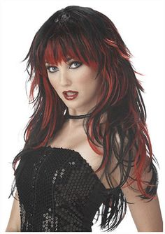 Black/red Tempting Tresses Wig - Tempting to touch! Black/Red Tempting Tresses Wig - Adult Wig includes a long black wig with bangs and bright red streaks. Gothic Hairstyles, Cool Hairstyles, Halloween Hairstyles, Hairstyle Ideas, Hairstyles Haircuts, Hair Ideas, Black Hairstyle, Layered Hairstyles, Style Hairstyle
