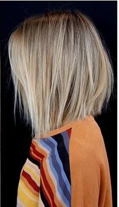 I like this cut and color. Blonde, straight,  bob.