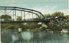 Cambridge Springs, PA, Main St Bridge, 1909 A community outing on French Creek