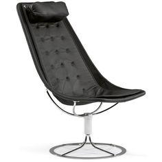 Jetson 66 fåtölj svart nät, lång dyna, svart läder från Bruno Mathsson – Köp online på Rum21.se