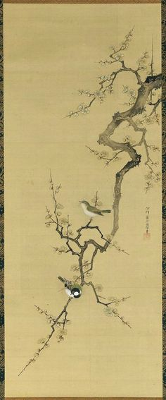 Plum Blossoms And Birds 梅に小禽図 Japanese, Edo period, latter half of the 18th century Kano Isen'in Naganobu, Japanese, 1775–1828